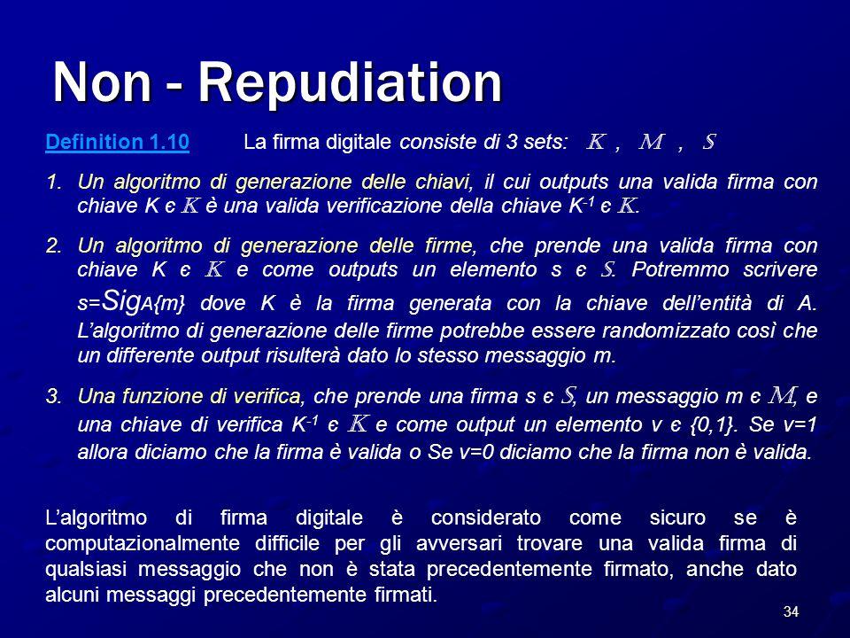 34 Non - Repudiation Definition 1.10 La firma digitale consiste di 3 sets: K, M, S 1.Un algoritmo di generazione delle chiavi, il cui outputs una valida firma con chiave K є K è una valida verificazione della chiave K -1 є K.