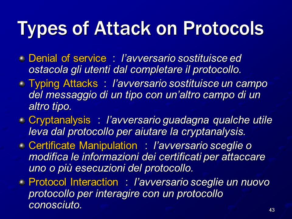 43 Types of Attack on Protocols Denial of service : l'avversario sostituisce ed ostacola gli utenti dal completare il protocollo.