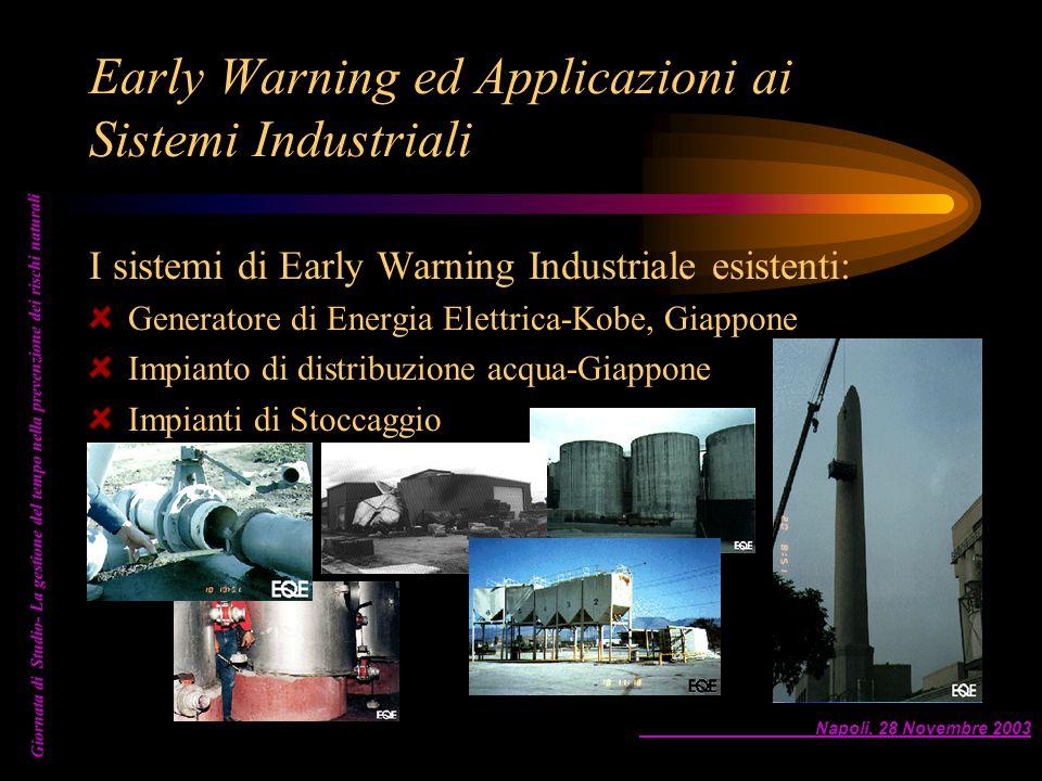 Napoli, 28 Novembre 2003 Giornata di Studio- La gestione del tempo nella prevenzione dei rischi naturali Early Warning ed Applicazioni ai Sistemi Indu