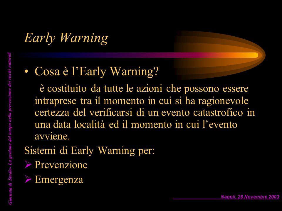 Napoli, 28 Novembre 2003 Giornata di Studio- La gestione del tempo nella prevenzione dei rischi naturali Early Warning Cosa è l'Early Warning? è costi