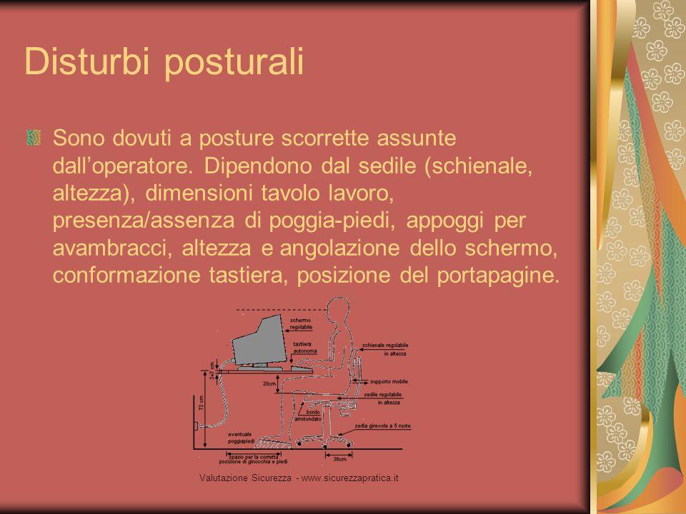 Valutazione Sicurezza - www.sicurezzapratica.it Disturbi posturali Sono dovuti a posture scorrette assunte dall'operatore. Dipendono dal sedile (schie