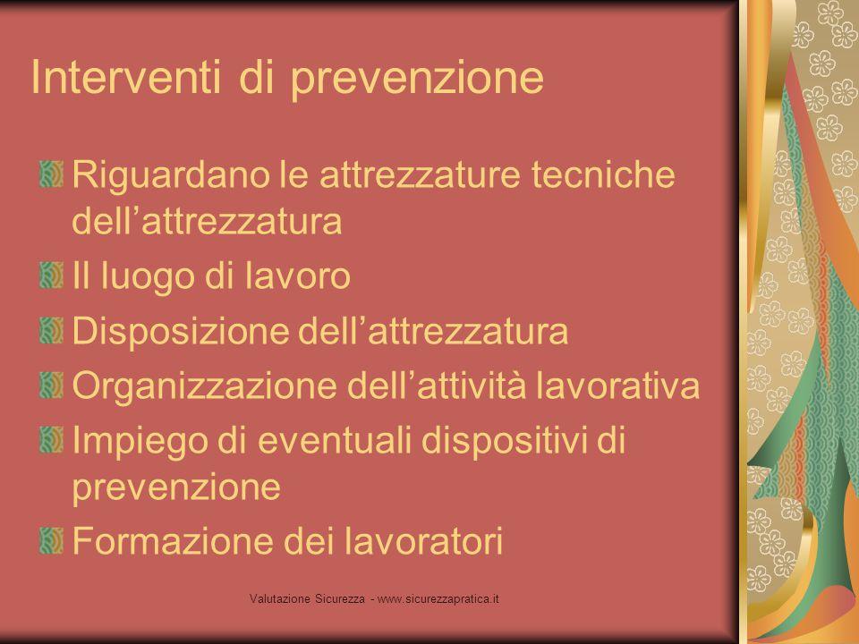 Valutazione Sicurezza - www.sicurezzapratica.it Interventi di prevenzione Riguardano le attrezzature tecniche dell'attrezzatura Il luogo di lavoro Dis