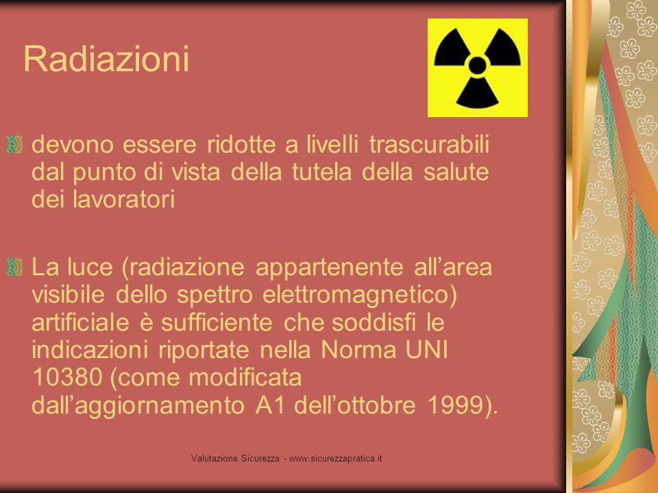 Valutazione Sicurezza - www.sicurezzapratica.it Radiazioni devono essere ridotte a livelli trascurabili dal punto di vista della tutela della salute d