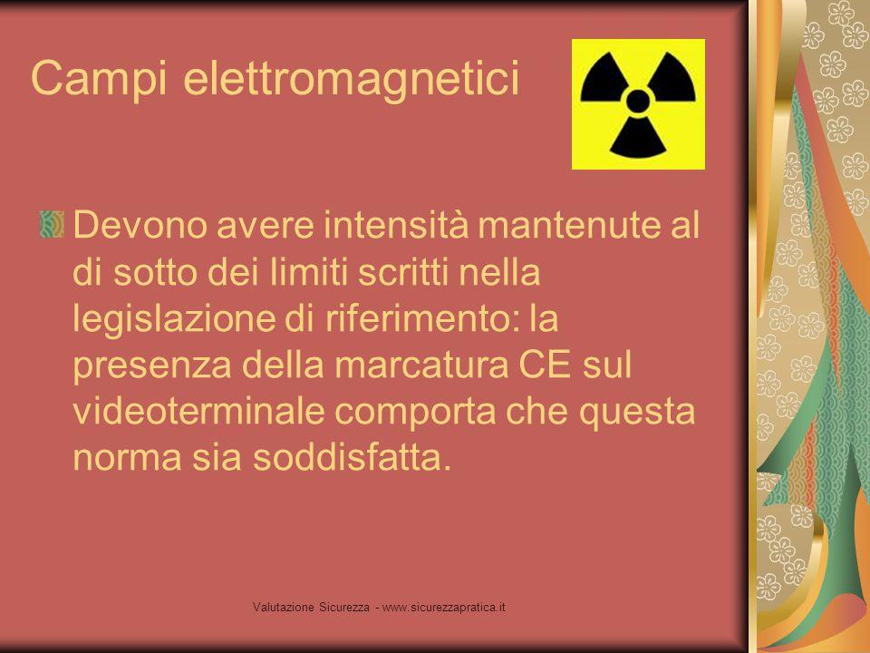 Valutazione Sicurezza - www.sicurezzapratica.it Campi elettromagnetici Devono avere intensità mantenute al di sotto dei limiti scritti nella legislazi
