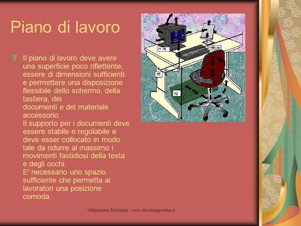 Valutazione Sicurezza - www.sicurezzapratica.it Piano di lavoro Il piano di lavoro deve avere una superficie poco riflettente, essere di dimensioni su