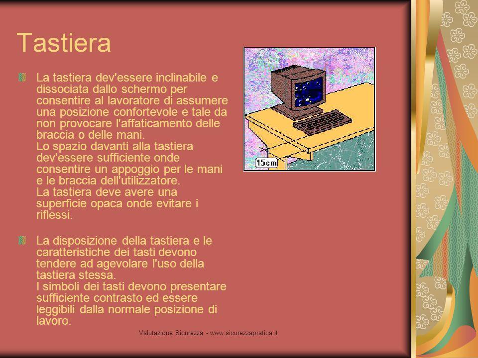 Valutazione Sicurezza - www.sicurezzapratica.it Tastiera La tastiera dev'essere inclinabile e dissociata dallo schermo per consentire al lavoratore di