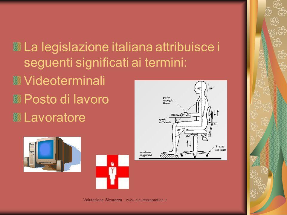 Valutazione Sicurezza - www.sicurezzapratica.it La legislazione italiana attribuisce i seguenti significati ai termini: Videoterminali Posto di lavoro