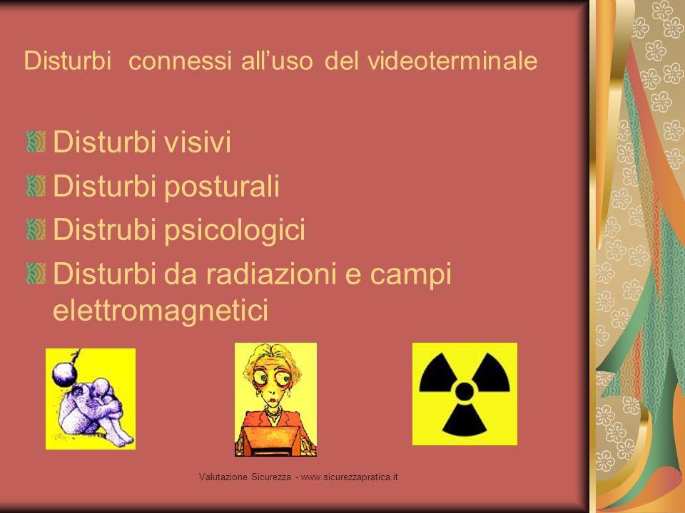 Valutazione Sicurezza - www.sicurezzapratica.it Disturbi connessi all'uso del videoterminale Disturbi visivi Disturbi posturali Distrubi psicologici D