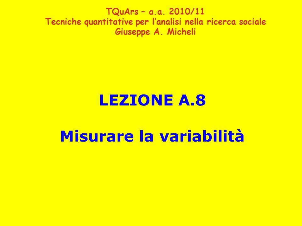 LEZIONE A.8 Misurare la variabilità TQuArs – a.a. 2010/11 Tecniche quantitative per l'analisi nella ricerca sociale Giuseppe A. Micheli