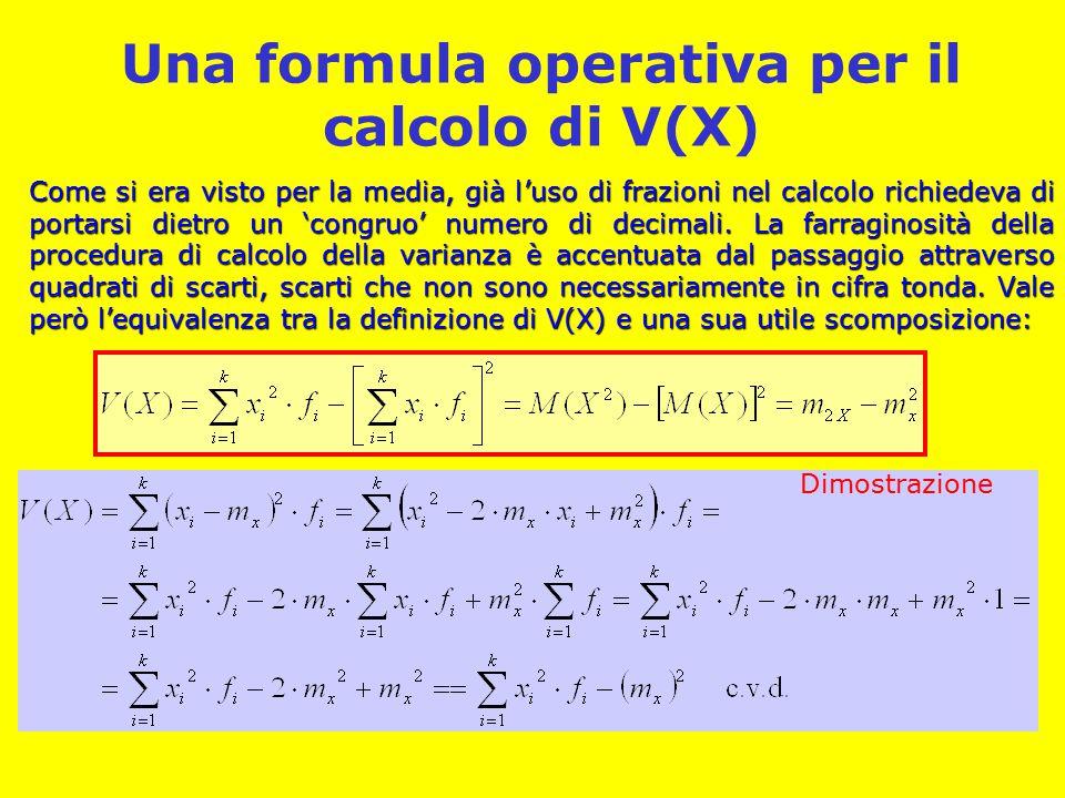 Una formula operativa per il calcolo di V(X) Come si era visto per la media, già l'uso di frazioni nel calcolo richiedeva di portarsi dietro un 'congruo' numero di decimali.