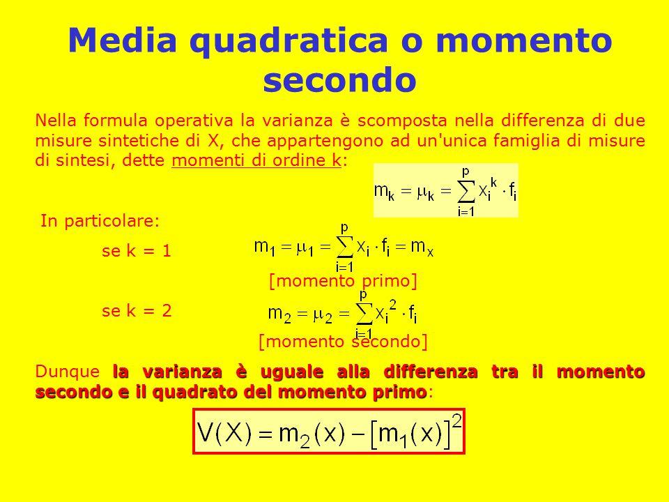 Media quadratica o momento secondo Nella formula operativa la varianza è scomposta nella differenza di due misure sintetiche di X, che appartengono ad un unica famiglia di misure di sintesi, dette momenti di ordine k: In particolare: se k = 1 [momento primo] se k = 2 [momento secondo] la varianza è uguale alla differenza tra il momento secondo e il quadrato del momento primo Dunque la varianza è uguale alla differenza tra il momento secondo e il quadrato del momento primo: