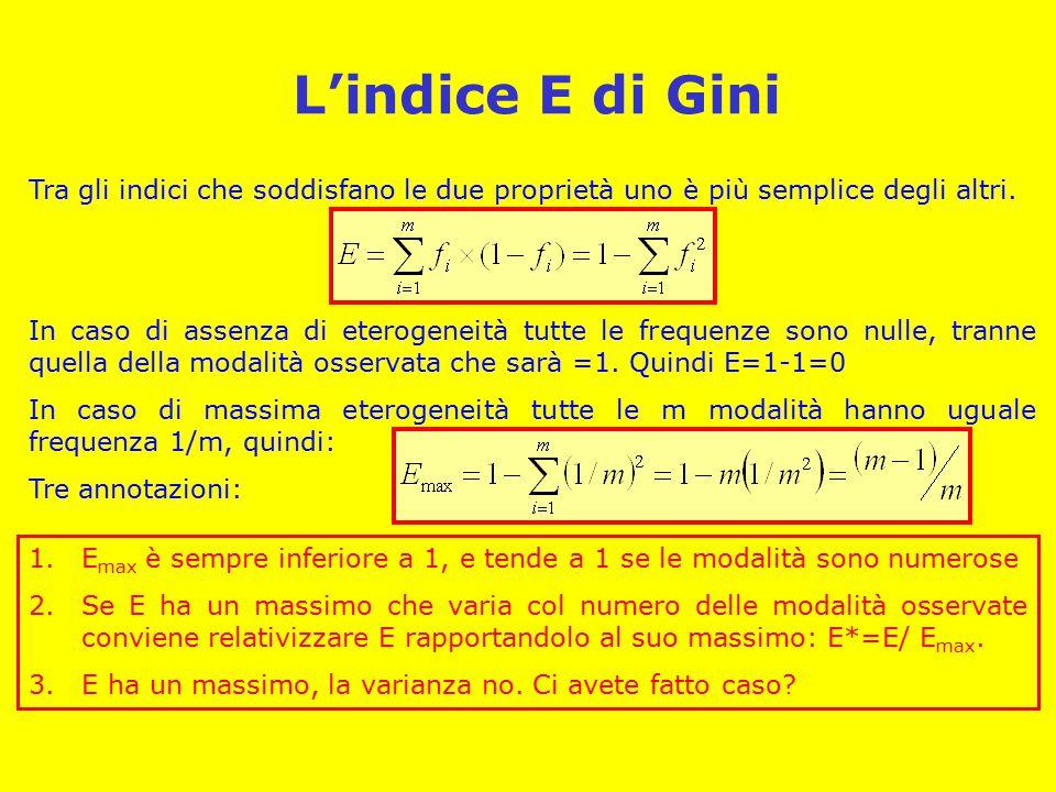 L'indice E di Gini Tra gli indici che soddisfano le due proprietà uno è più semplice degli altri. In caso di assenza di eterogeneità tutte le frequenz