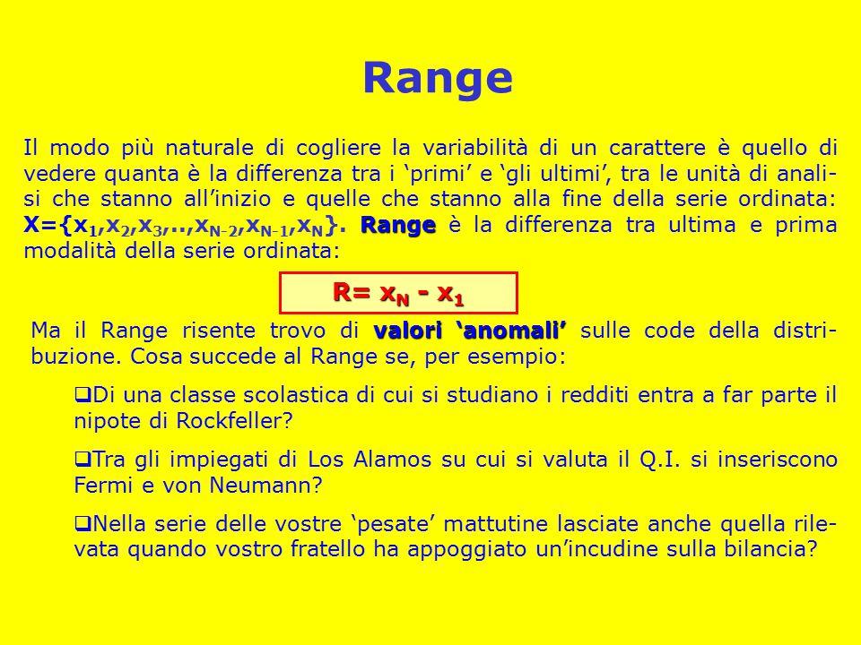 Range Range Il modo più naturale di cogliere la variabilità di un carattere è quello di vedere quanta è la differenza tra i 'primi' e 'gli ultimi', tra le unità di anali- si che stanno all'inizio e quelle che stanno alla fine della serie ordinata: X={x 1,x 2,x 3,..,x N-2,x N-1,x N }.