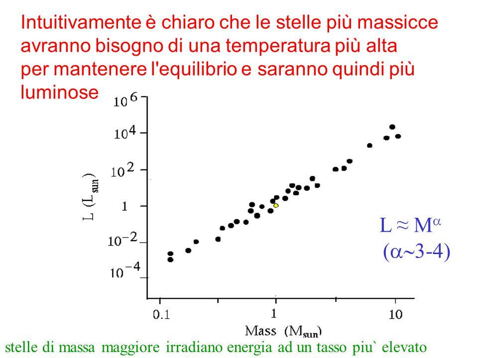 Intuitivamente è chiaro che le stelle più massicce avranno bisogno di una temperatura più alta per mantenere l'equilibrio e saranno quindi più luminos