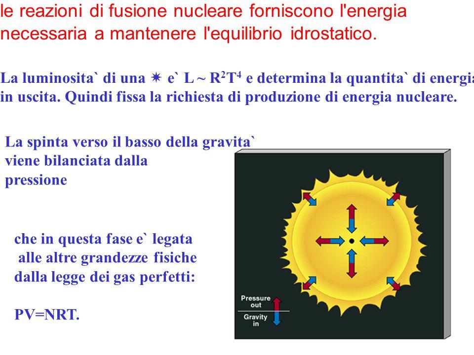 le reazioni di fusione nucleare forniscono l'energia necessaria a mantenere l'equilibrio idrostatico. La luminosita` di una  e` L ~ R 2 T 4 e determi