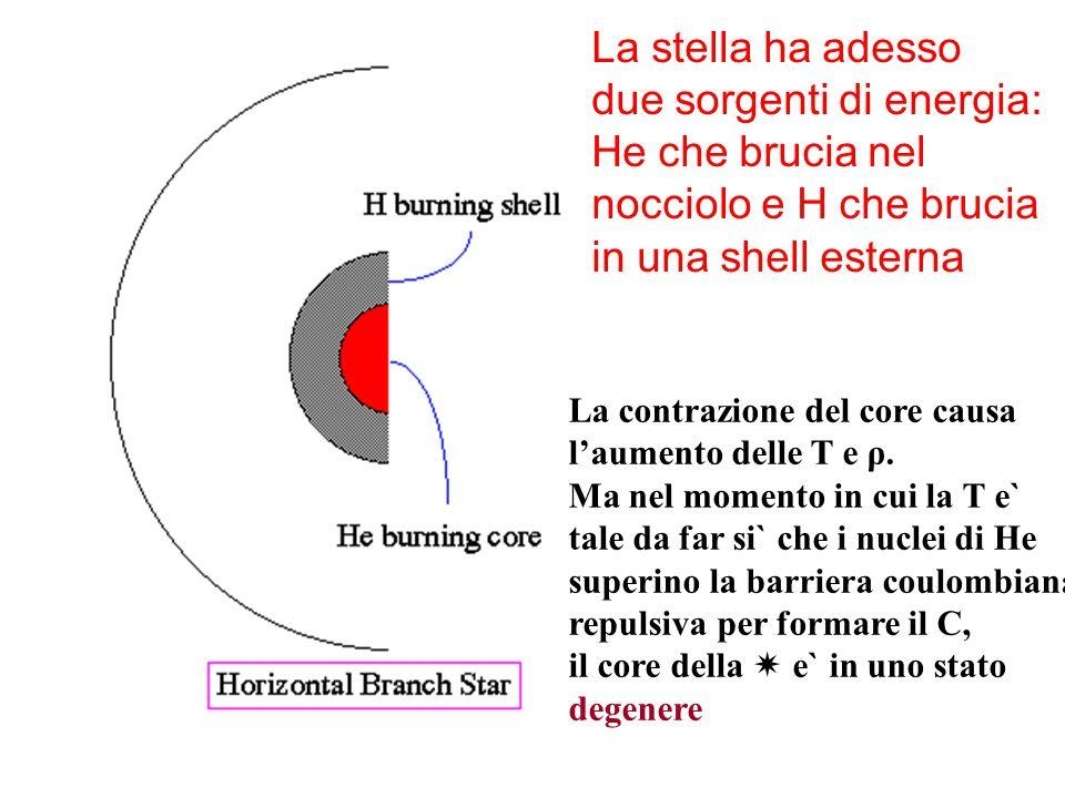 La stella ha adesso due sorgenti di energia: He che brucia nel nocciolo e H che brucia in una shell esterna La contrazione del core causa l'aumento de