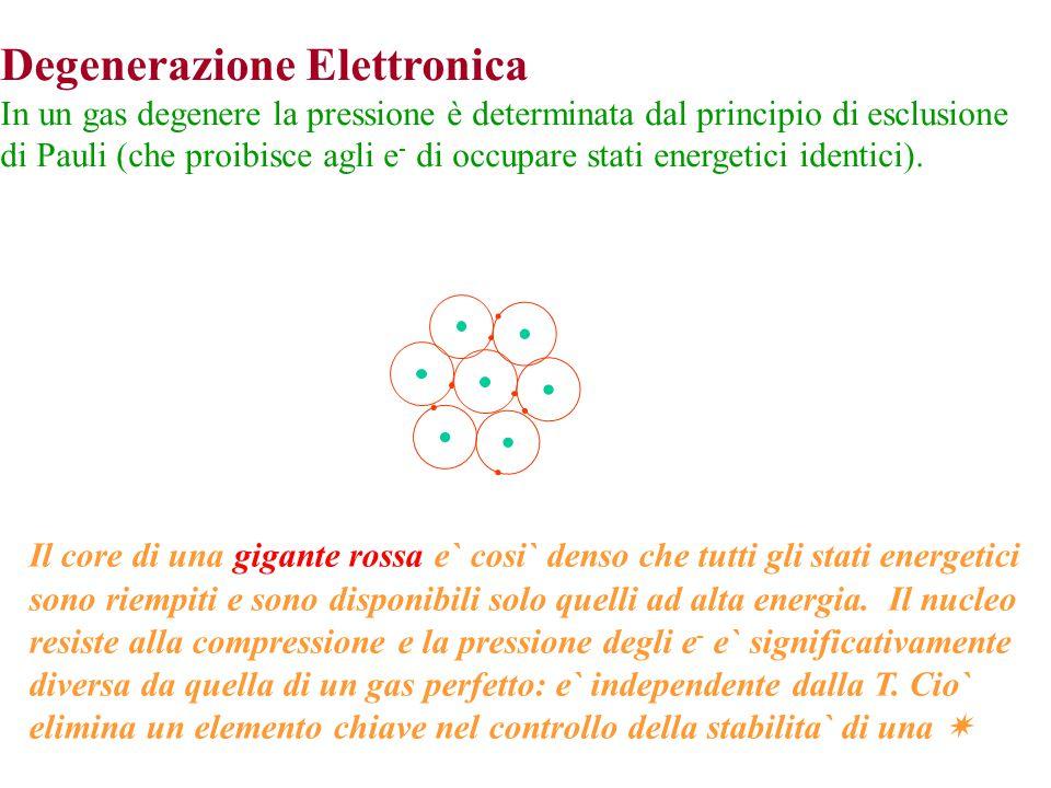 Degenerazione Elettronica In un gas degenere la pressione è determinata dal principio di esclusione di Pauli (che proibisce agli e - di occupare stati