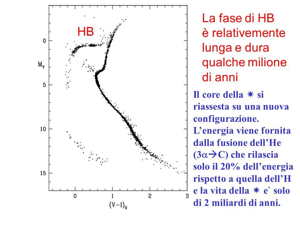 HB La fase di HB è relativemente lunga e dura qualche milione di anni Il core della  si riassesta su una nuova configurazione. L'energia viene fornit