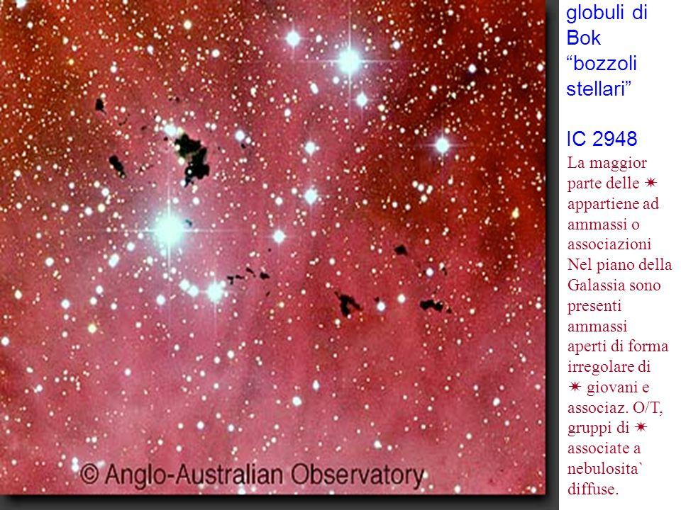 """globuli di Bok """"bozzoli stellari"""" IC 2948 La maggior parte delle  appartiene ad ammassi o associazioni Nel piano della Galassia sono presenti ammassi"""