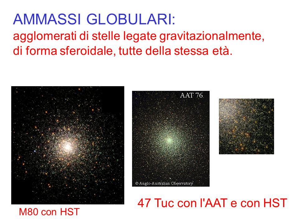 AMMASSI GLOBULARI: agglomerati di stelle legate gravitazionalmente, di forma sferoidale, tutte della stessa età. 47 Tuc con l'AAT e con HST M80 con HS