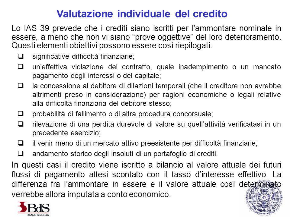 Valutazione individuale del credito Lo IAS 39 prevede che i crediti siano iscritti per l'ammontare nominale in essere, a meno che non vi siano prove oggettive del loro deterioramento.