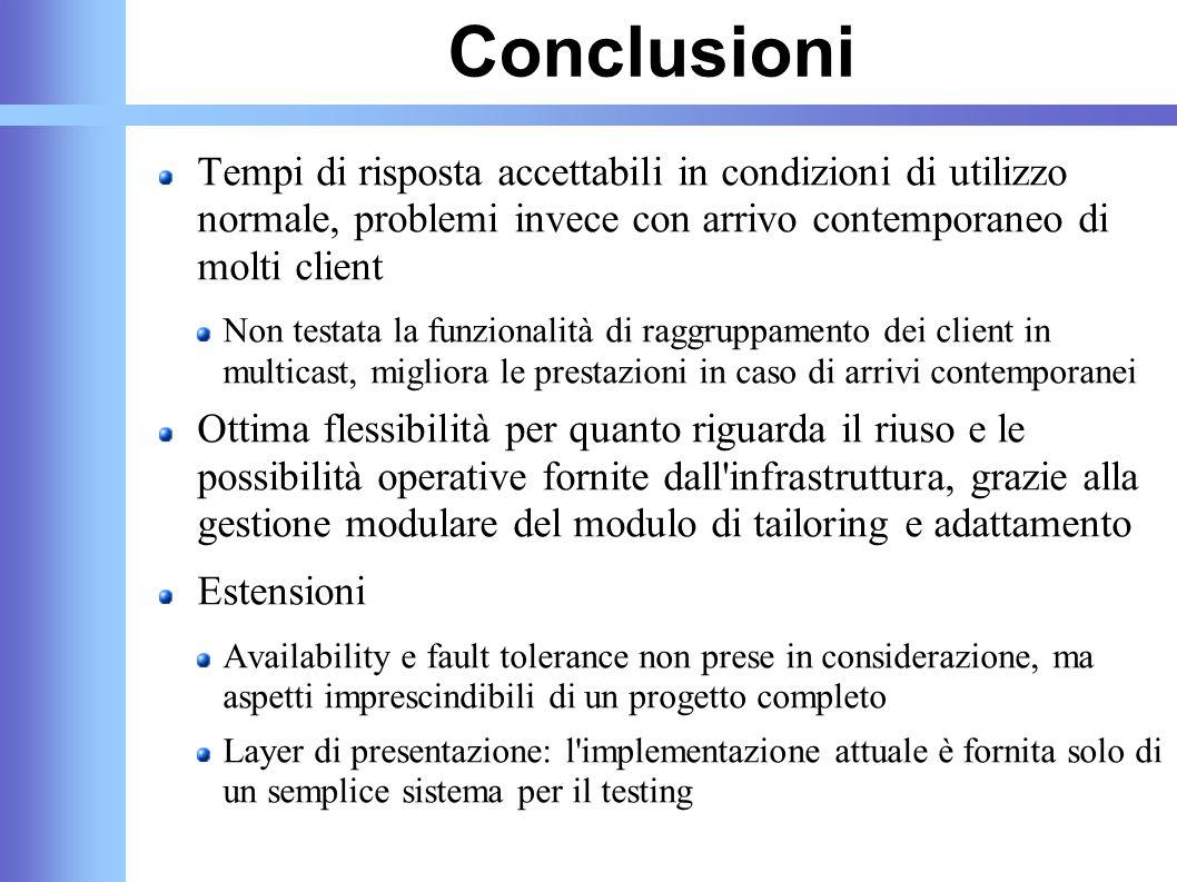 Conclusioni Tempi di risposta accettabili in condizioni di utilizzo normale, problemi invece con arrivo contemporaneo di molti client Non testata la f