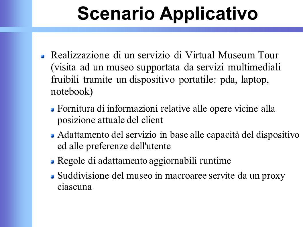 Scenario Applicativo Realizzazione di un servizio di Virtual Museum Tour (visita ad un museo supportata da servizi multimediali fruibili tramite un di