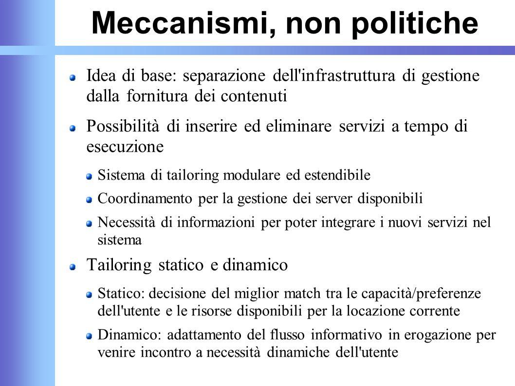 Meccanismi, non politiche Idea di base: separazione dell'infrastruttura di gestione dalla fornitura dei contenuti Possibilità di inserire ed eliminare
