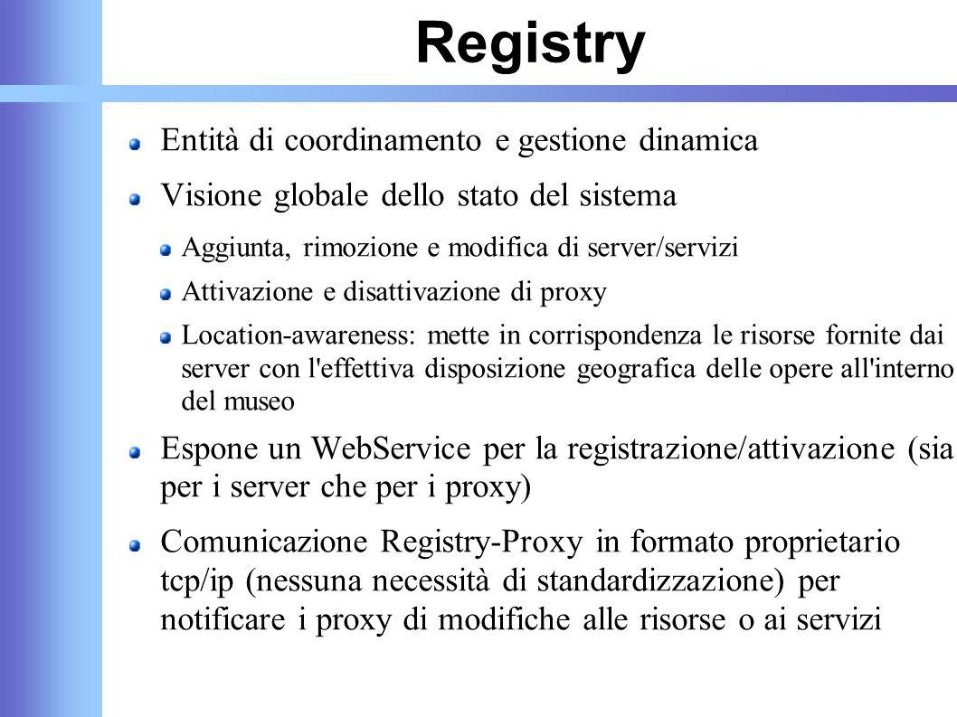 Registry Entità di coordinamento e gestione dinamica Visione globale dello stato del sistema Aggiunta, rimozione e modifica di server/servizi Attivazi