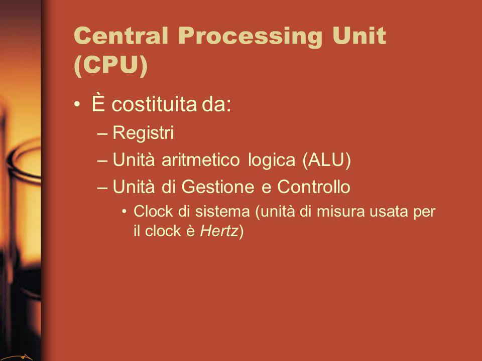 CPU: Descrizioni Velocità: MIPS - microistruzioni al secondo (4.77, 100, 200, …, 500,...) Distinzione in base al set di istruzioni: –CISC (Complete Instruction Set Computer): insieme ampio di microistruzioni, più facile scrivere programmi per compiti diversi –RISC (Reduced Instruction Set Computer): solo istruzioni più usate, guadagno in velocità
