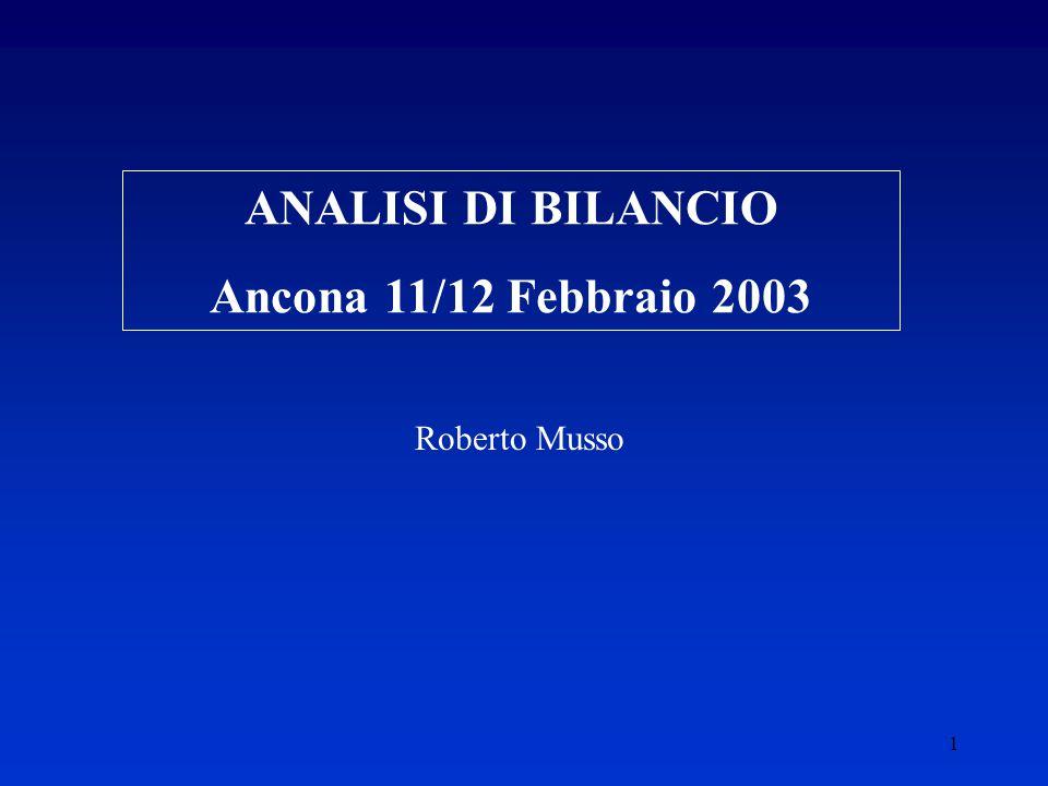 1 ANALISI DI BILANCIO Ancona 11/12 Febbraio 2003 Roberto Musso
