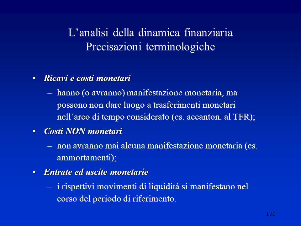 100 L'analisi della dinamica finanziaria Precisazioni terminologiche Ricavi e costi monetariRicavi e costi monetari –hanno (o avranno) manifestazione monetaria, ma possono non dare luogo a trasferimenti monetari nell'arco di tempo considerato (es.