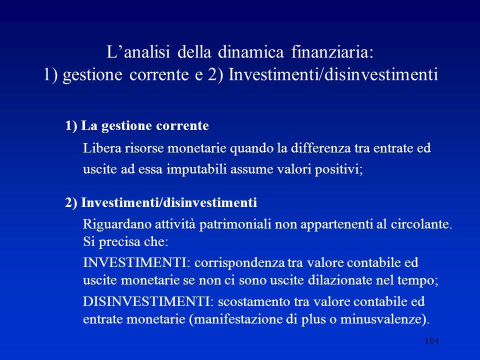 104 L'analisi della dinamica finanziaria: 1) gestione corrente e 2) Investimenti/disinvestimenti 1) La gestione corrente Libera risorse monetarie quando la differenza tra entrate ed uscite ad essa imputabili assume valori positivi; 2) Investimenti/disinvestimenti Riguardano attività patrimoniali non appartenenti al circolante.