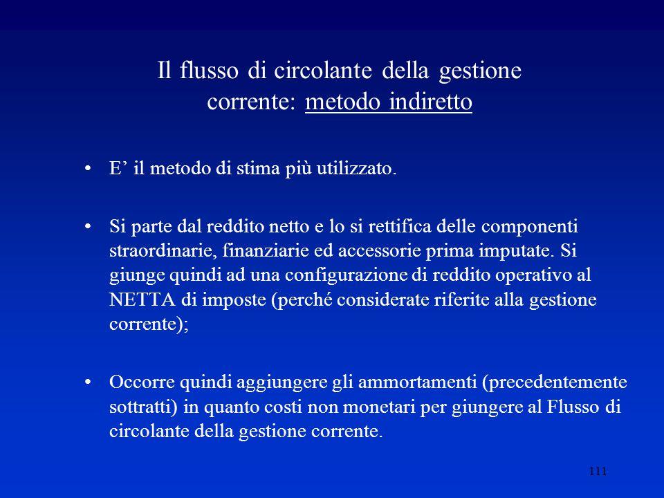 111 Il flusso di circolante della gestione corrente: metodo indiretto E' il metodo di stima più utilizzato.