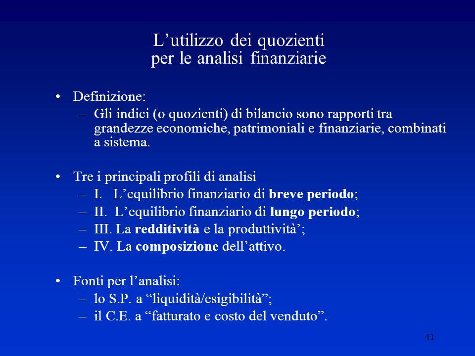 41 L'utilizzo dei quozienti per le analisi finanziarie Definizione: –Gli indici (o quozienti) di bilancio sono rapporti tra grandezze economiche, patrimoniali e finanziarie, combinati a sistema.