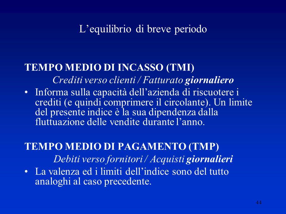 44 L'equilibrio di breve periodo TEMPO MEDIO DI INCASSO (TMI) Crediti verso clienti / Fatturato giornaliero Informa sulla capacità dell'azienda di riscuotere i crediti (e quindi comprimere il circolante).