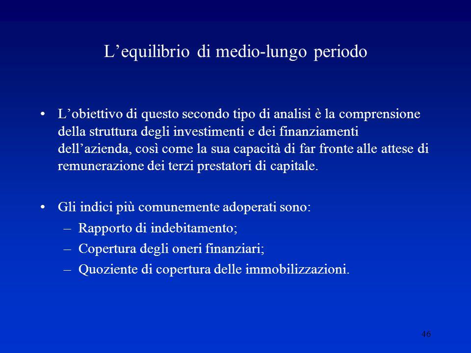 46 L'equilibrio di medio-lungo periodo L'obiettivo di questo secondo tipo di analisi è la comprensione della struttura degli investimenti e dei finanziamenti dell'azienda, così come la sua capacità di far fronte alle attese di remunerazione dei terzi prestatori di capitale.