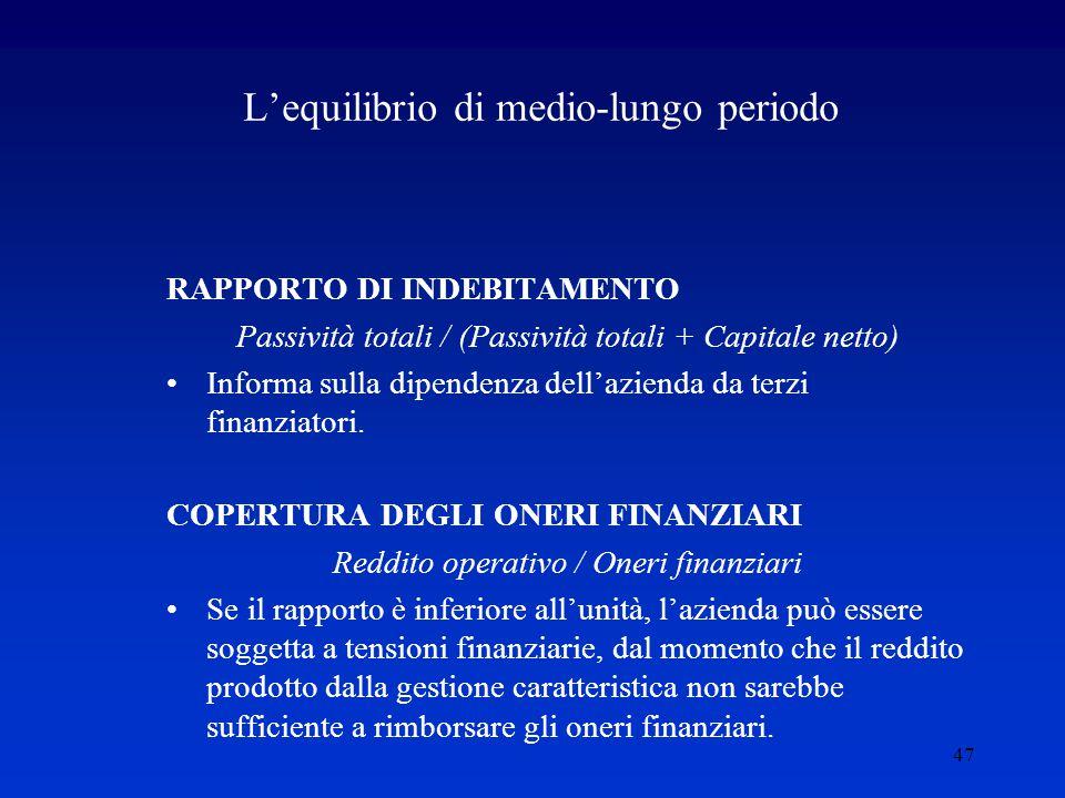 47 L'equilibrio di medio-lungo periodo RAPPORTO DI INDEBITAMENTO Passività totali / (Passività totali + Capitale netto) Informa sulla dipendenza dell'azienda da terzi finanziatori.