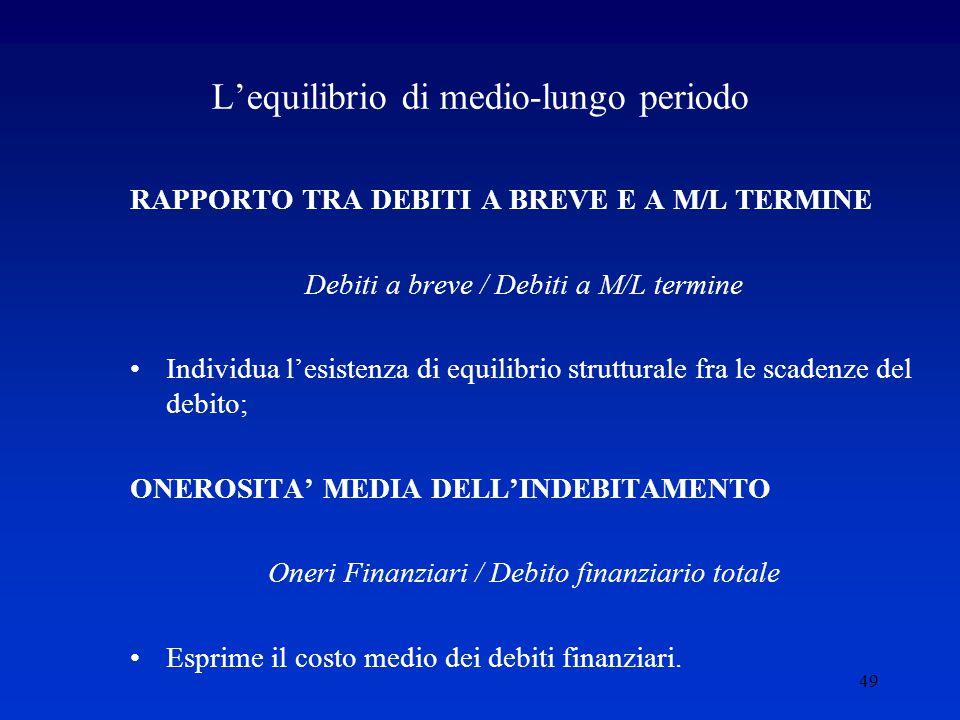 49 L'equilibrio di medio-lungo periodo RAPPORTO TRA DEBITI A BREVE E A M/L TERMINE Debiti a breve / Debiti a M/L termine Individua l'esistenza di equilibrio strutturale fra le scadenze del debito; ONEROSITA' MEDIA DELL'INDEBITAMENTO Oneri Finanziari / Debito finanziario totale Esprime il costo medio dei debiti finanziari.