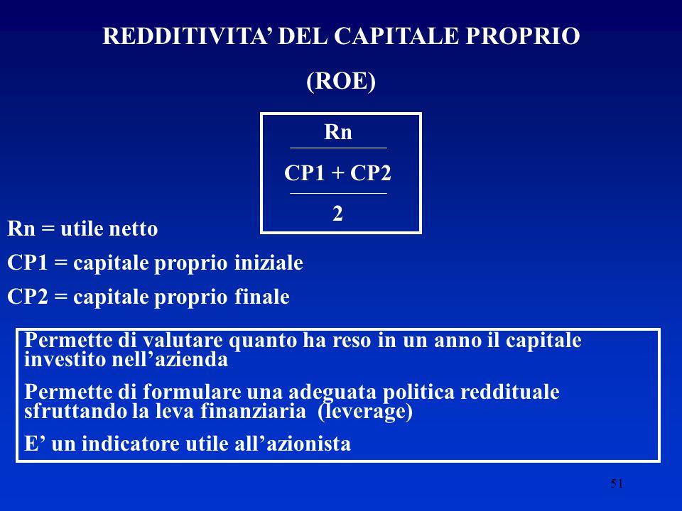51 REDDITIVITA' DEL CAPITALE PROPRIO (ROE) Rn CP1 + CP2 2 Rn = utile netto CP1 = capitale proprio iniziale CP2 = capitale proprio finale Permette di valutare quanto ha reso in un anno il capitale investito nell'azienda Permette di formulare una adeguata politica reddituale sfruttando la leva finanziaria (leverage) E' un indicatore utile all'azionista