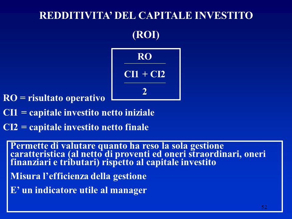 52 REDDITIVITA' DEL CAPITALE INVESTITO (ROI) RO CI1 + CI2 2 RO = risultato operativo CI1 = capitale investito netto iniziale CI2 = capitale investito netto finale Permette di valutare quanto ha reso la sola gestione caratteristica (al netto di proventi ed oneri straordinari, oneri finanziari e tributari) rispetto al capitale investito Misura l'efficienza della gestione E' un indicatore utile al manager