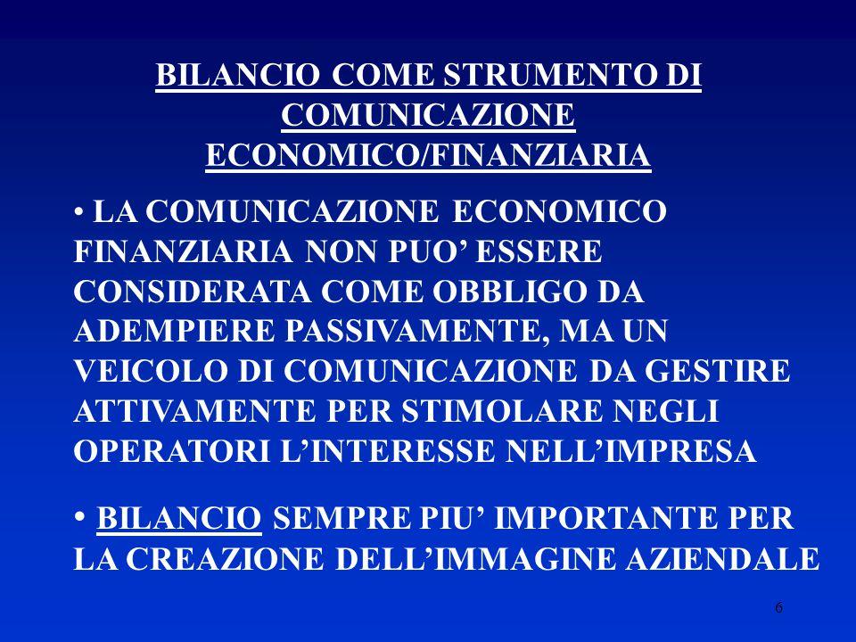 6 BILANCIO COME STRUMENTO DI COMUNICAZIONE ECONOMICO/FINANZIARIA LA COMUNICAZIONE ECONOMICO FINANZIARIA NON PUO' ESSERE CONSIDERATA COME OBBLIGO DA ADEMPIERE PASSIVAMENTE, MA UN VEICOLO DI COMUNICAZIONE DA GESTIRE ATTIVAMENTE PER STIMOLARE NEGLI OPERATORI L'INTERESSE NELL'IMPRESA BILANCIO SEMPRE PIU' IMPORTANTE PER LA CREAZIONE DELL'IMMAGINE AZIENDALE