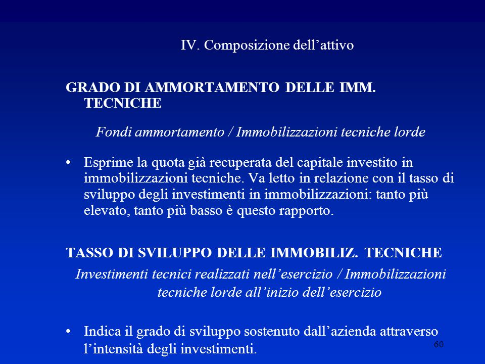 60 IV.Composizione dell'attivo GRADO DI AMMORTAMENTO DELLE IMM.