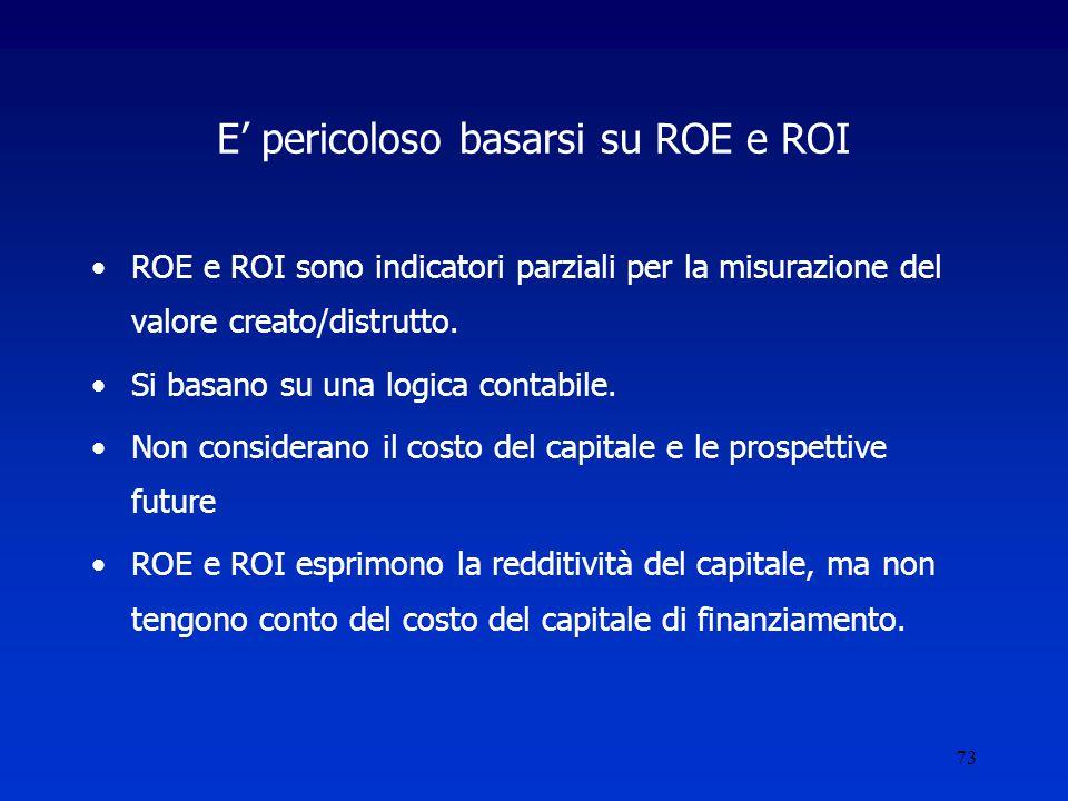 73 E' pericoloso basarsi su ROE e ROI ROE e ROI sono indicatori parziali per la misurazione del valore creato/distrutto.