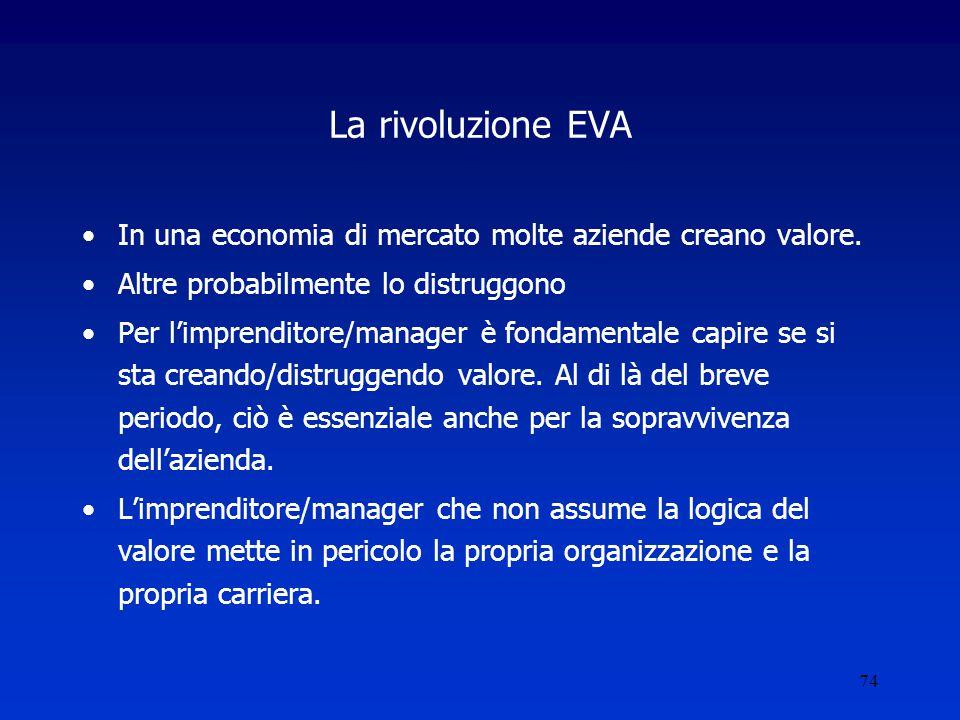 74 La rivoluzione EVA In una economia di mercato molte aziende creano valore.