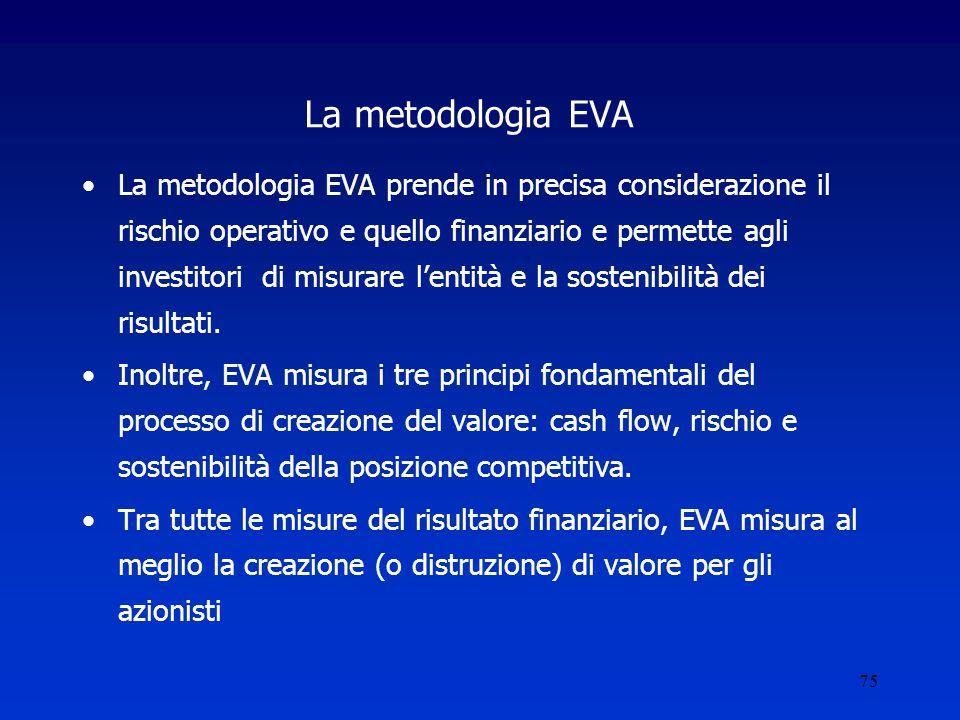 75 La metodologia EVA La metodologia EVA prende in precisa considerazione il rischio operativo e quello finanziario e permette agli investitori di misurare l'entità e la sostenibilità dei risultati.