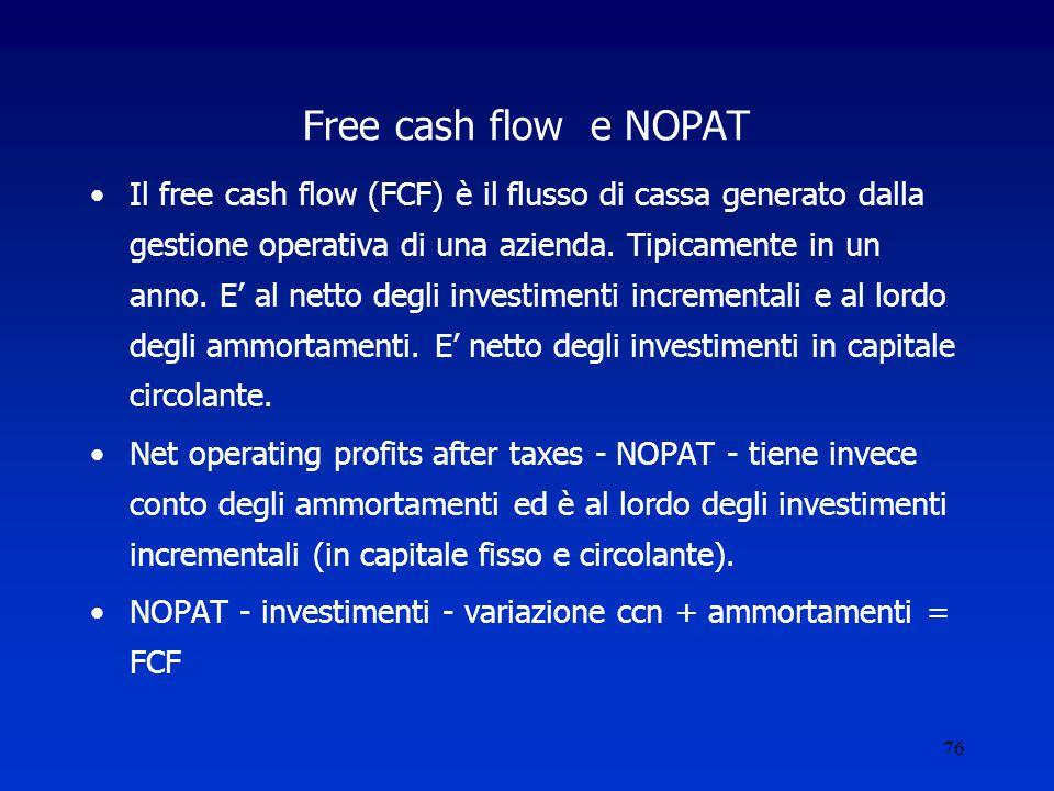 76 Free cash flow e NOPAT Il free cash flow (FCF) è il flusso di cassa generato dalla gestione operativa di una azienda.