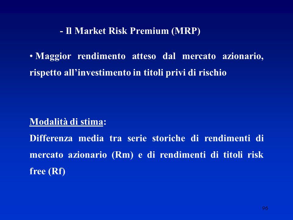 96 - Il Market Risk Premium (MRP) Maggior rendimento atteso dal mercato azionario, rispetto all'investimento in titoli privi di rischio Modalità di stima: Differenza media tra serie storiche di rendimenti di mercato azionario (Rm) e di rendimenti di titoli risk free (Rf)