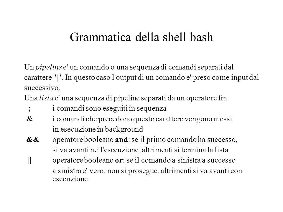 Grammatica della shell bash Un pipeline e un comando o una sequenza di comandi separati dal carattere | .