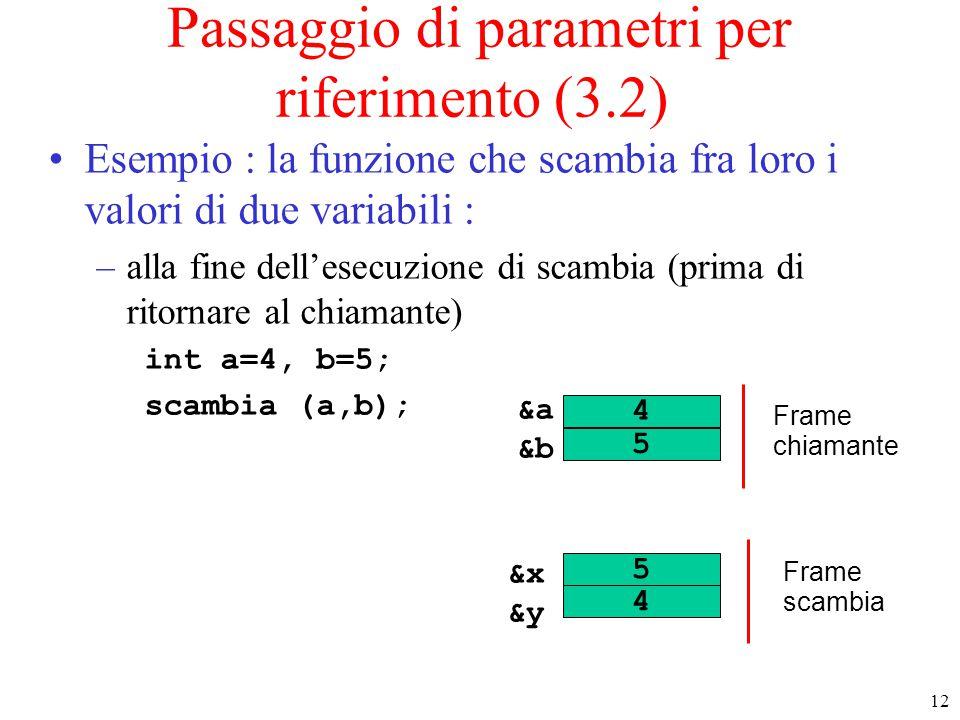 12 Passaggio di parametri per riferimento (3.2) Esempio : la funzione che scambia fra loro i valori di due variabili : –alla fine dell'esecuzione di s